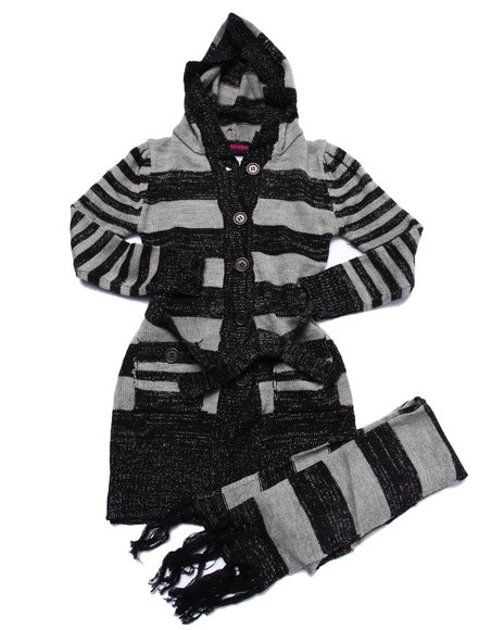 Dollhouse - Girls Black Striped Duster Sweater (7-16) - $28.00