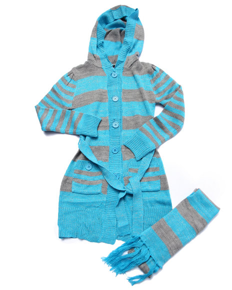 Dollhouse - Girls Blue Striped Duster Sweater (7-16) - $28.00