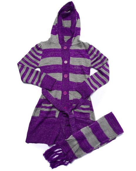 Dollhouse - Girls Purple Striped Duster Sweater (7-16)