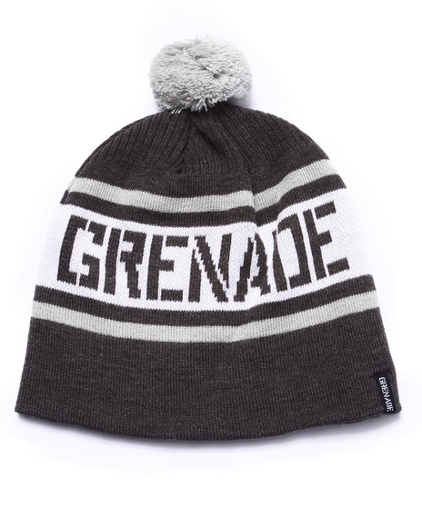 Ur-ID 222936 Grenade - Men Grey Stripe Pom Beanie