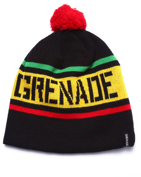 Ur-ID 222937 Grenade - Men Black Stripe Pom Beanie