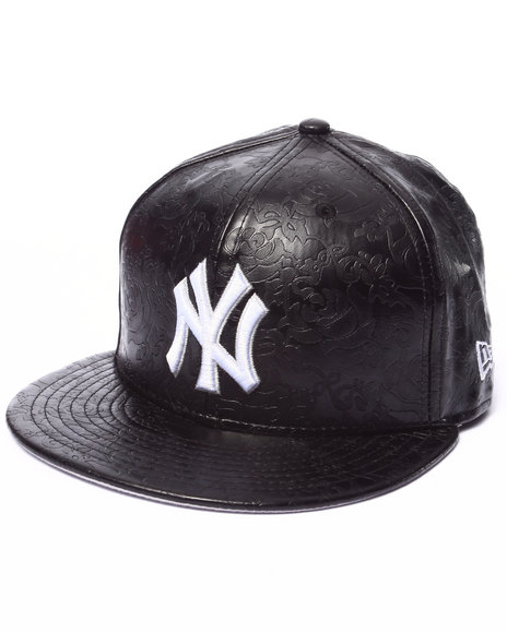 New Era - Men Black New York Yankees Leather Floral 5950 Fitted Hat