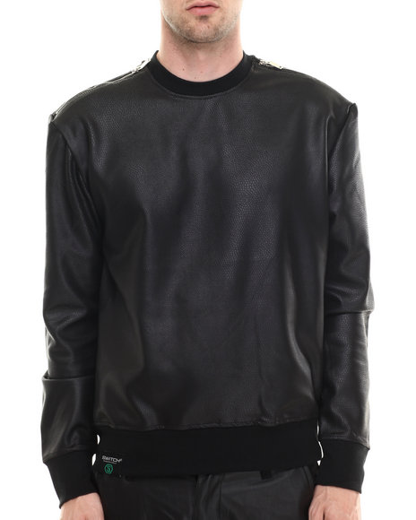 Buyers Picks - Men Black Reptile Neoprene Zip Detail Crewneck Sweatshirt