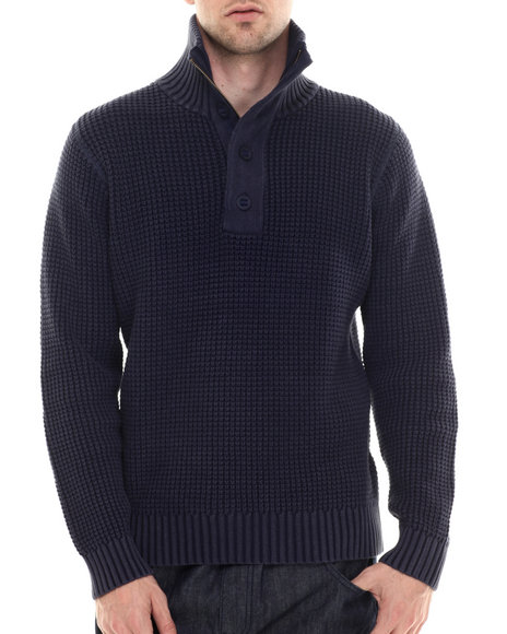 Darring - Men Midnight Mountain Zip Mock Sweater