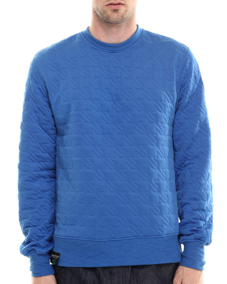 Buyers Picks - Men Blue Hounds Tooth Embosed Crewneck Sweatshirt