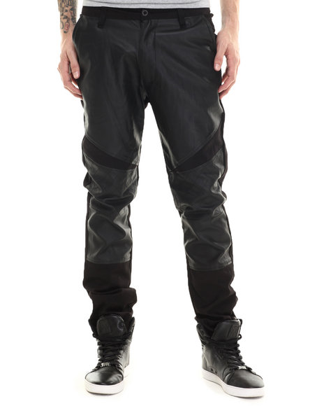 Buyers Picks - Men Black Twill Biker Faux Leather Pants