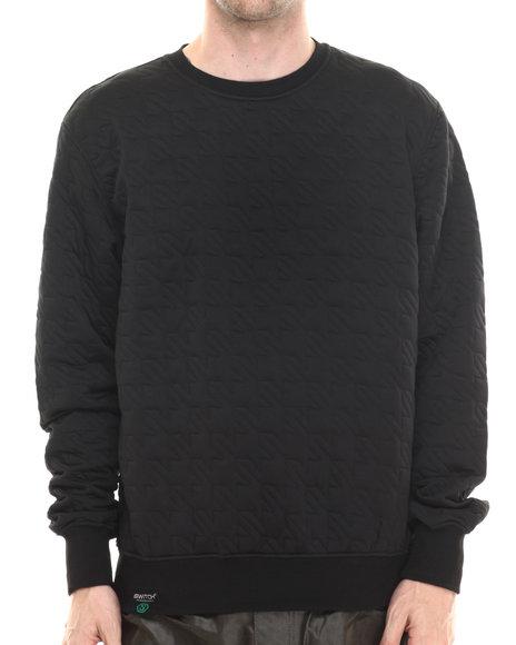 Buyers Picks - Men Black Hounds Tooth Embosed Crewneck Sweatshirt