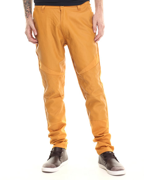 Buyers Picks - Men Wheat Twill Biker Faux Leather Pants