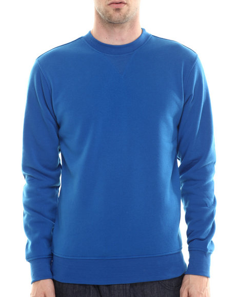 Buyers Picks - Men Blue Classic Fleece Crewneck Sweatshirt