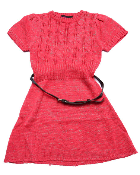 Dollhouse - Girls Coral Belted Cable Knit Sweater Dress (7-16)