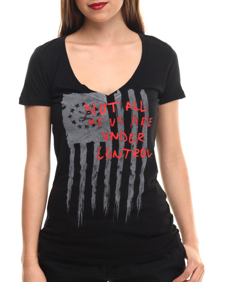 Lrg - Women Black Out Of Control V-Neck Tee
