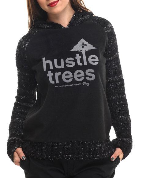 Lrg - Women Black Little Foot Hustle Trees Bonded Hoodie