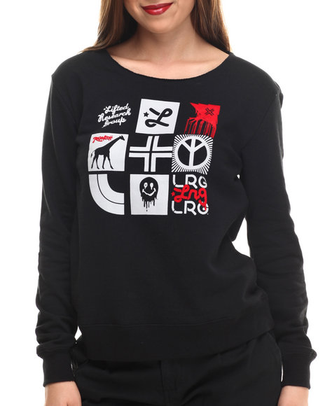 Lrg - Women Black Risky Addiction Fleece Sweatshirt