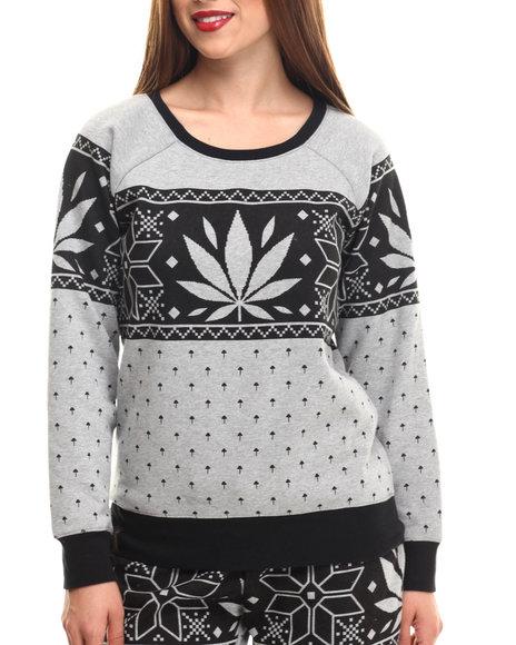 Lrg - Women Grey Charmed Printed Fleece Sweatshirt