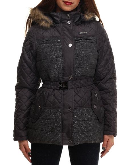Rocawear - Women Charcoal Tweed Wool Belted Puffer Coat
