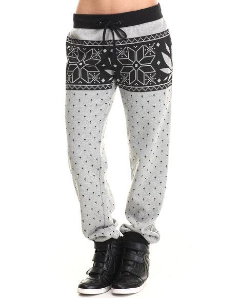 Lrg - Women Grey Charmed Printed Jogger Sweatpant