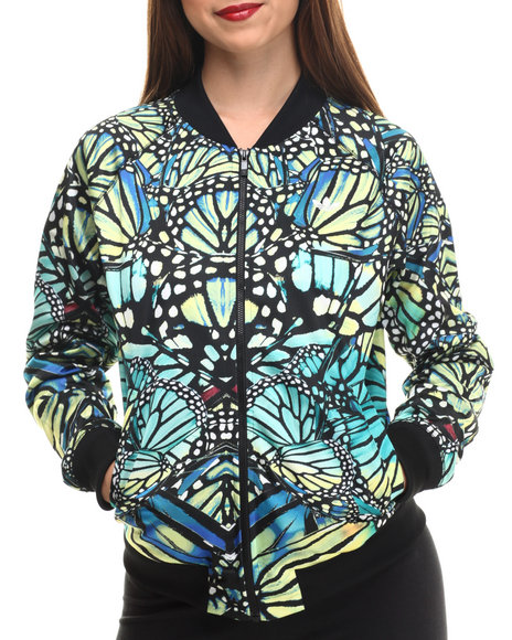 Adidas - Women Black,Green Supergirl Butterfly Track Top Jacket - $55.99