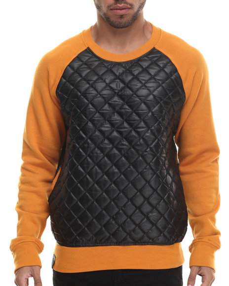 Buyers Picks - Men Wheat Quilted Faux Leather Crewneck Shirt