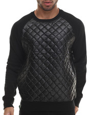 Buyers Picks - Quilted Faux Leather Crewneck shirt