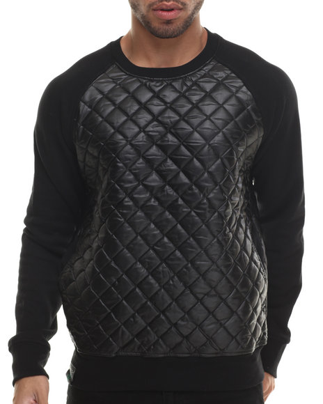 Buyers Picks - Men Black Quilted Faux Leather Crewneck Shirt