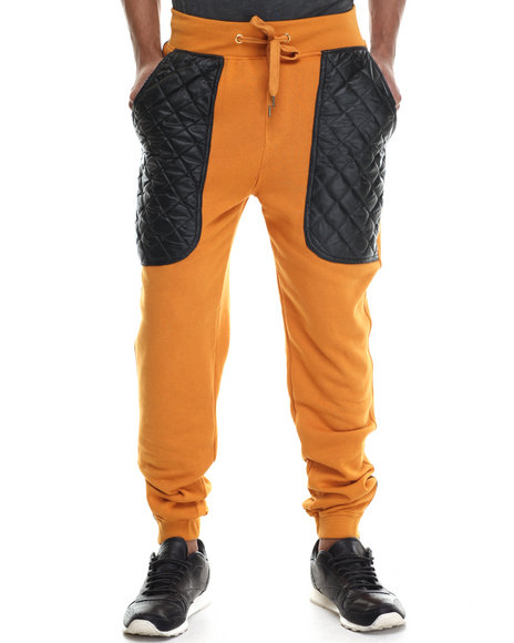 Buyers Picks - Men Wheat Quilted Faux Leather Knit Pants - $38.99