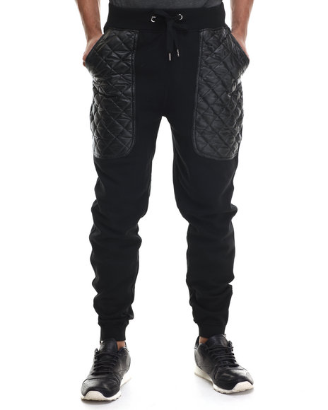 Buyers Picks - Men Black Quilted Faux Leather Knit Pants