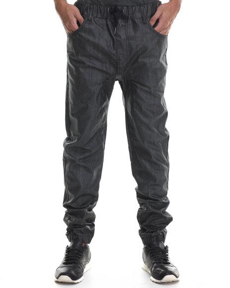 Buyers Picks - Men Black Wax Coated Color Jogger Denim Jeans