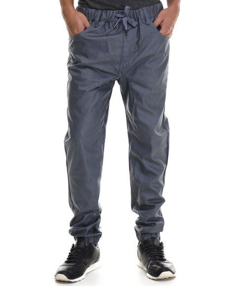 Buyers Picks - Men Dark Wash Wax Coated Color Jogger Denim Jeans