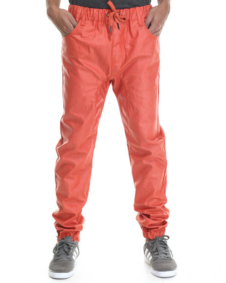 Buyers Picks - Men Orange Wax Coated Color Jogger Denim Jeans