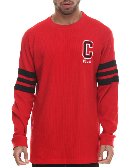 Coogi - Men Red Long Sleeve Thermal Crewneck