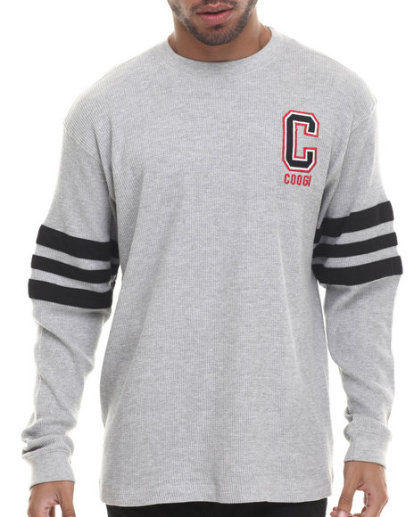 Coogi - Men Grey Long Sleeve Thermal Crewneck