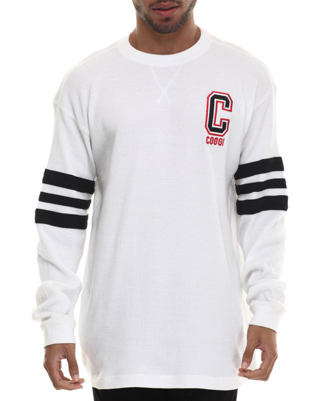 Coogi - Men White Long Sleeve Thermal Crewneck