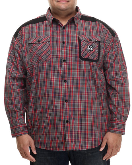 Rocawear - Men Red,Grey Be Here L/S Button-Down (B&T)