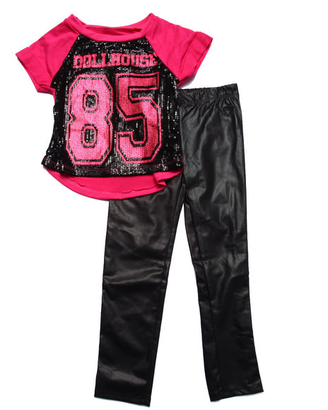 Dollhouse - Girls Pink Sequin Jersey & Metallic Leggings (4-6X)