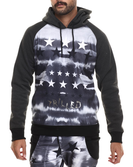 Buyers Picks - Men Black Trilled Faded Stars Sublimated Hoodie
