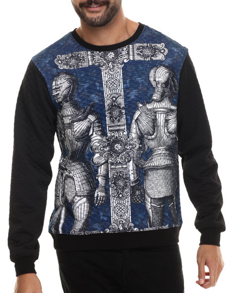 Buyers Picks - Men Blue Trilled Knights Quilted Crewneck Sweatshirt
