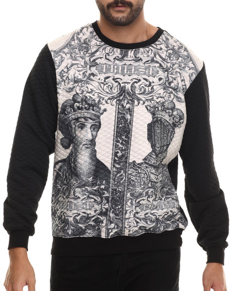 Buyers Picks - Men White Trilled Aristocracy Quilted Crewneck Sweatshirt