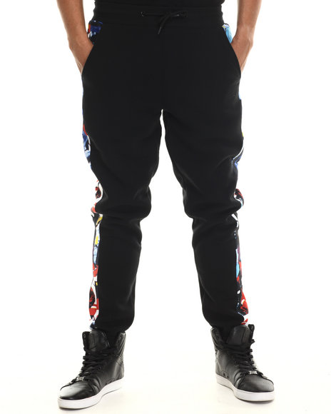 Buyers Picks - Men Black Trilled Abstract Art Joggers