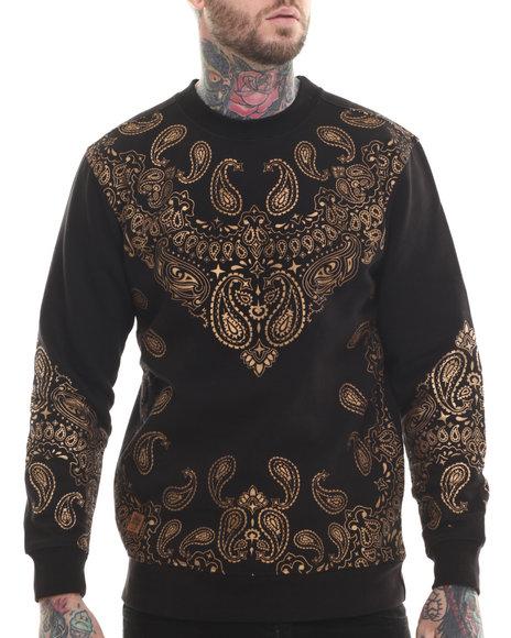 Buyers Picks - Men Gold Bandana Print Fleece Sweashirt - $46.00