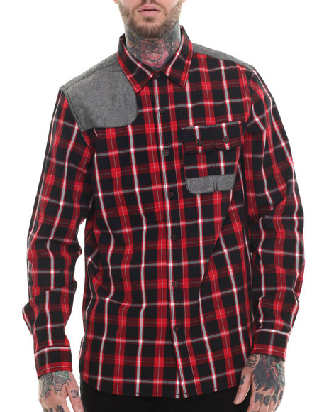 Rocawear - Men Black Brush Off L/S Button-Down