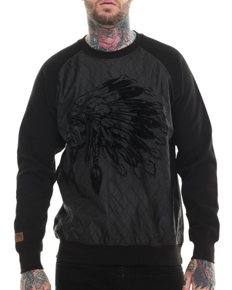 Buyers Picks - Men Black Indian Face Quilted Crewneck Sweatshirt