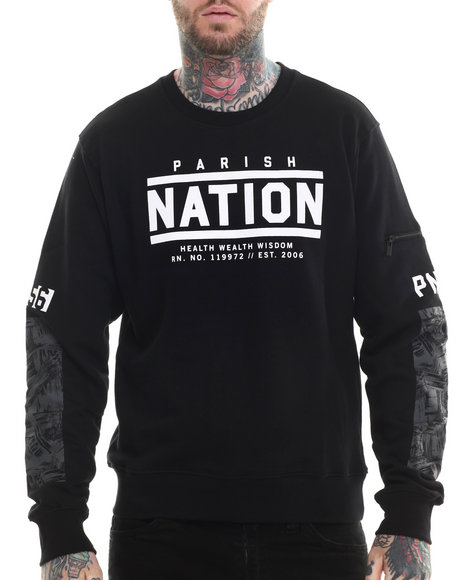 Parish - Men Black Brush Coat Crewneck - $35.99