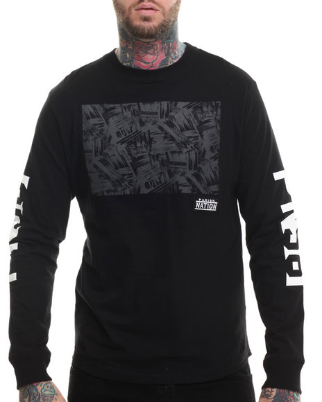 Parish - Men Black L/S Graphic T-Shirt - $21.99