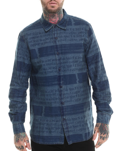 Rocawear - Men Dark Wash Lost Souls Print Denim L/S Button-Down