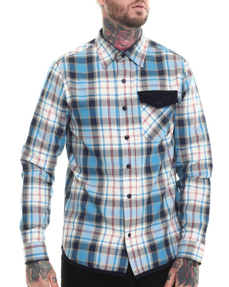 Parish - Men Blue Plaid L/S Button-Down