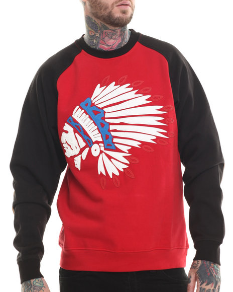 Buyers Picks - Men Red Indian Faux Leather Applique Fleece Sweatshirt