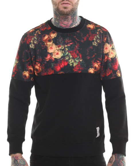 Black,Multi Pullover Sweatshirts