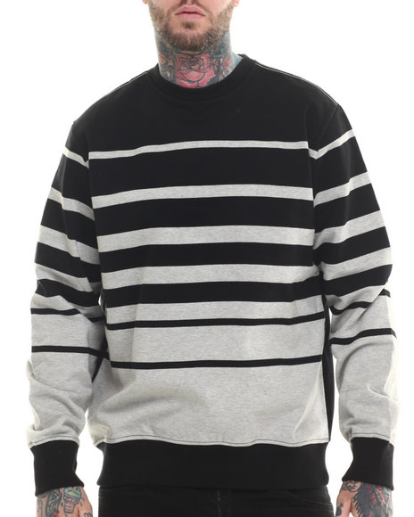 Rocawear - Men Grey Dekalb Stripe Crewneck Sweatshirt