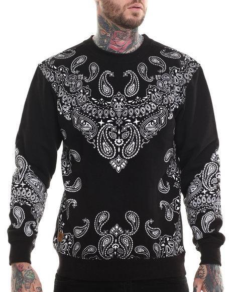 Buyers Picks - Men Black Bandana Print Fleece Sweashirt