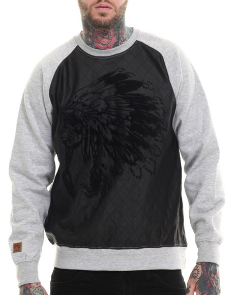 Buyers Picks - Men Grey Indian Face Quilted Crewneck Sweatshirt